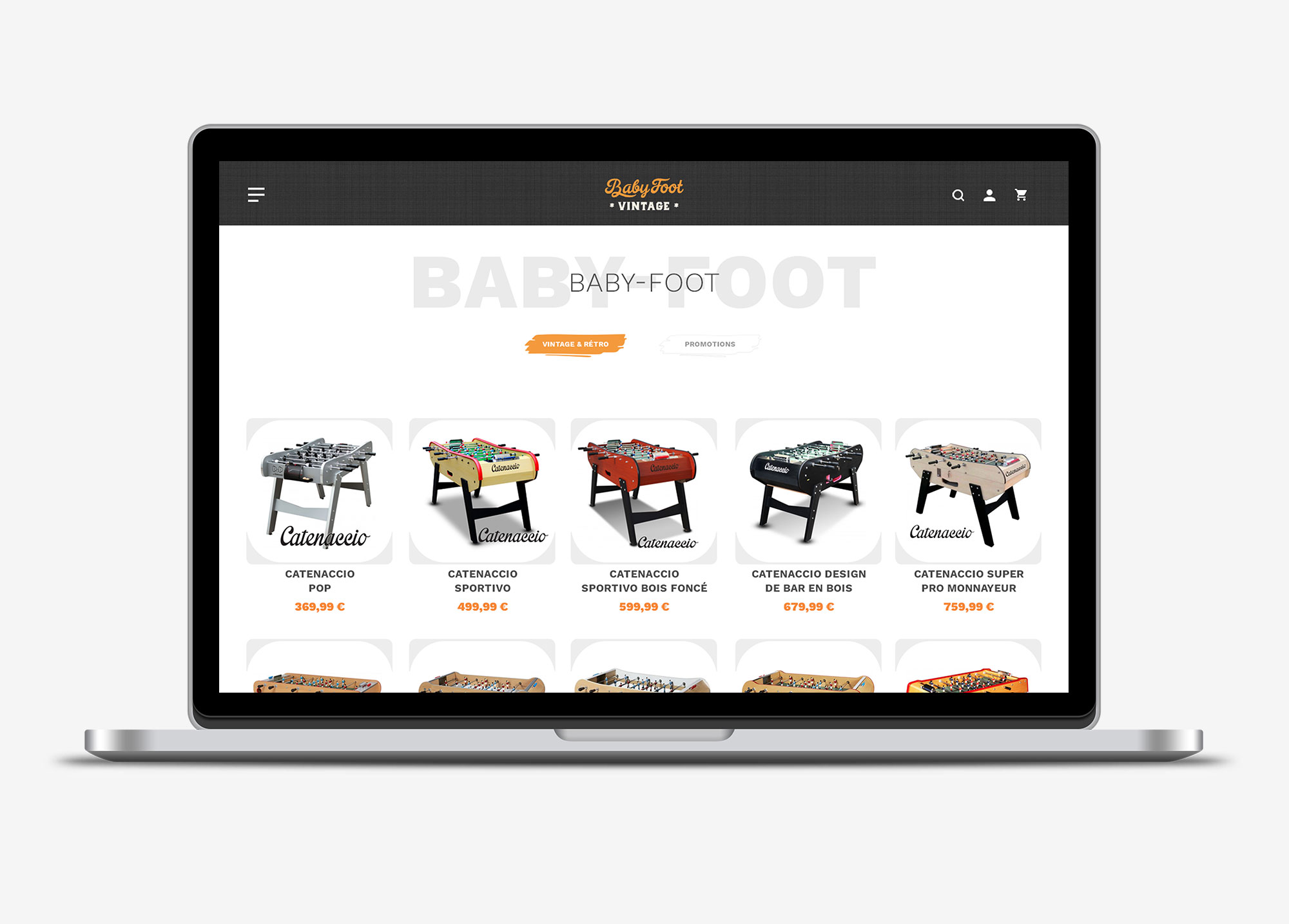 Babyfoot Vintage section catalogue