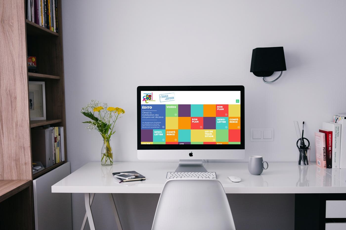 Version desktop de la proposition de webdesign pour le site du Collectif des Associations Citoyennes, rubrique Écologie citoyenne.