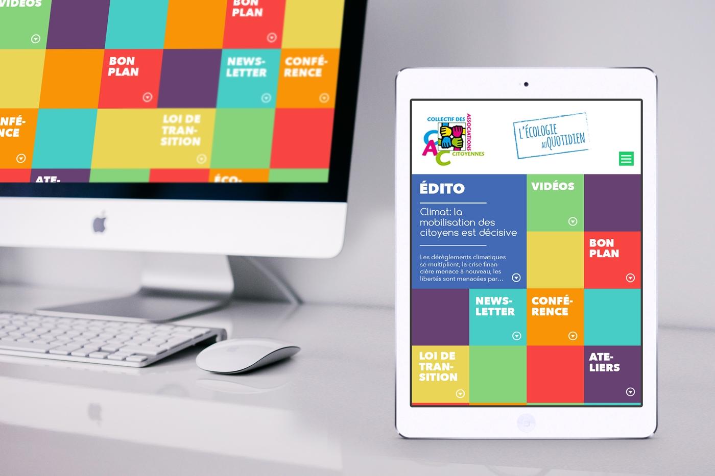 Version tablette de la proposition de webdesign pour le site du Collectif des Associations Citoyennes, rubrique Écologie citoyenne.