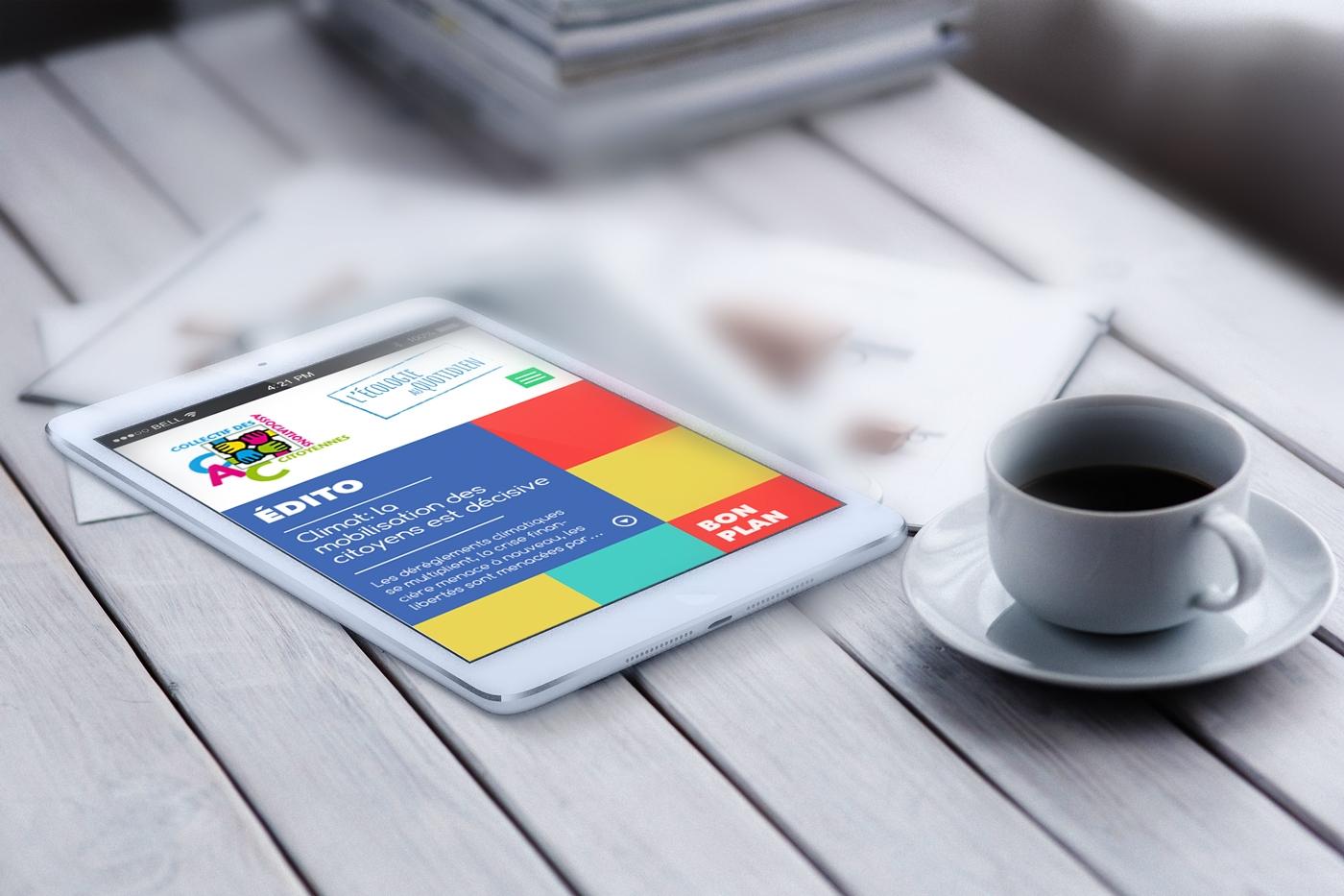 Version mobile de la proposition de webdesign pour le site du Collectif des Associations Citoyennes, rubrique Écologie citoyenne.