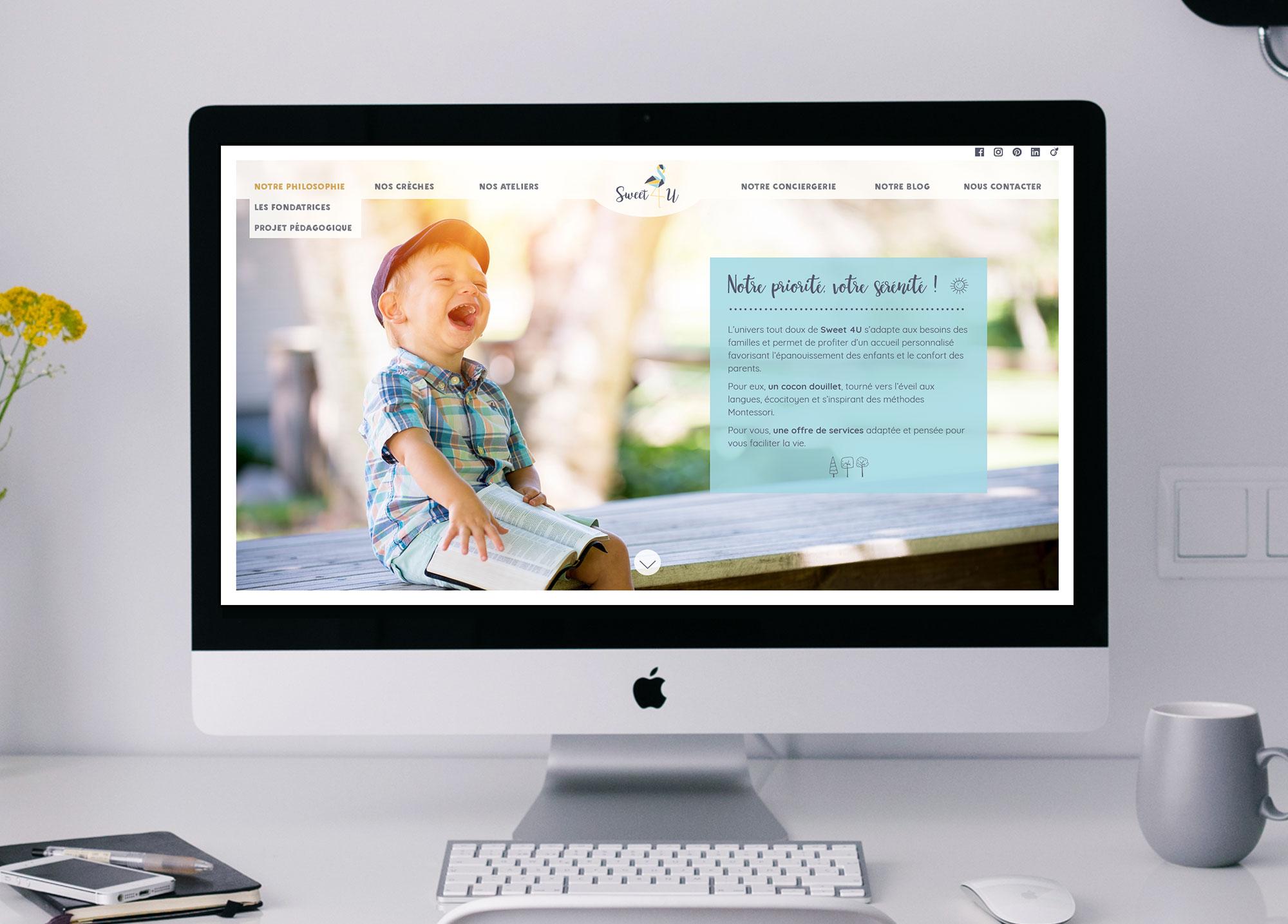 """Page """"Notre philosophie"""" du site Web de la crèche Sweet 4 U."""