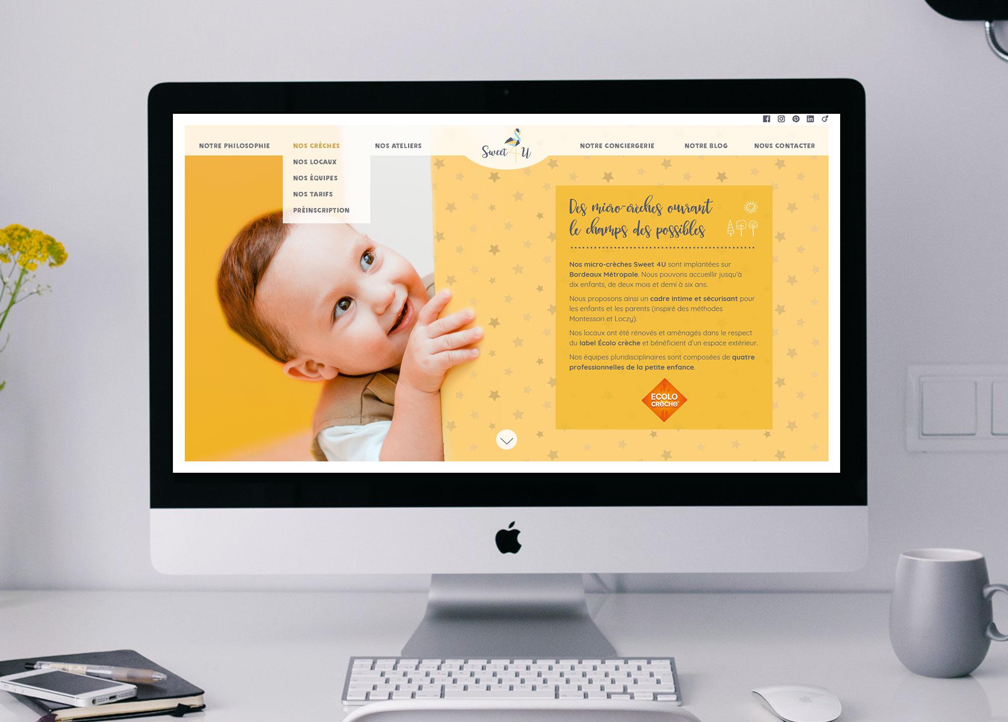 """Page """"Nos crèches"""" du site Web de la crèche Sweet 4 U."""