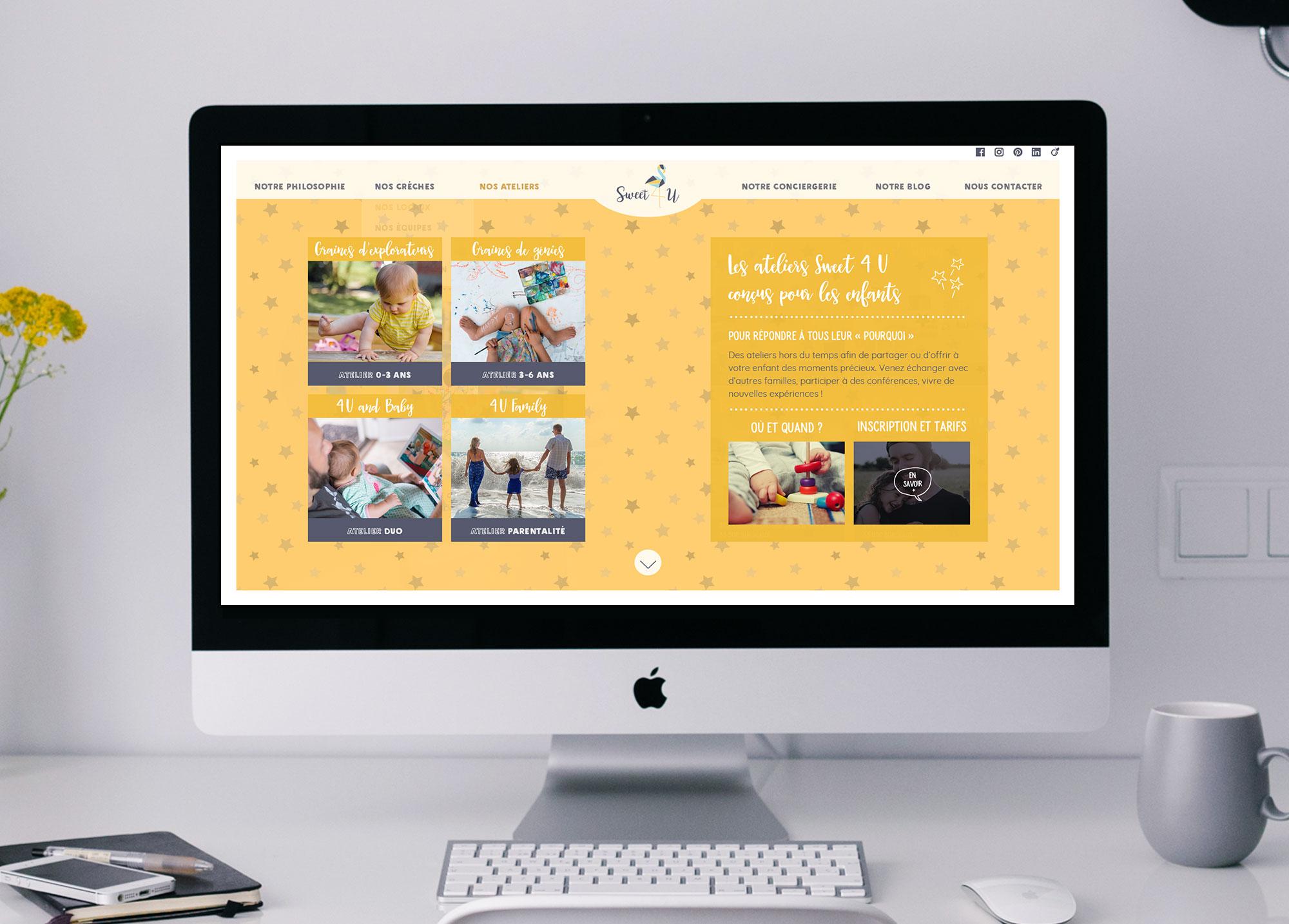 """Page """"Nos ateliers"""" du site Web de la crèche Sweet 4 U."""