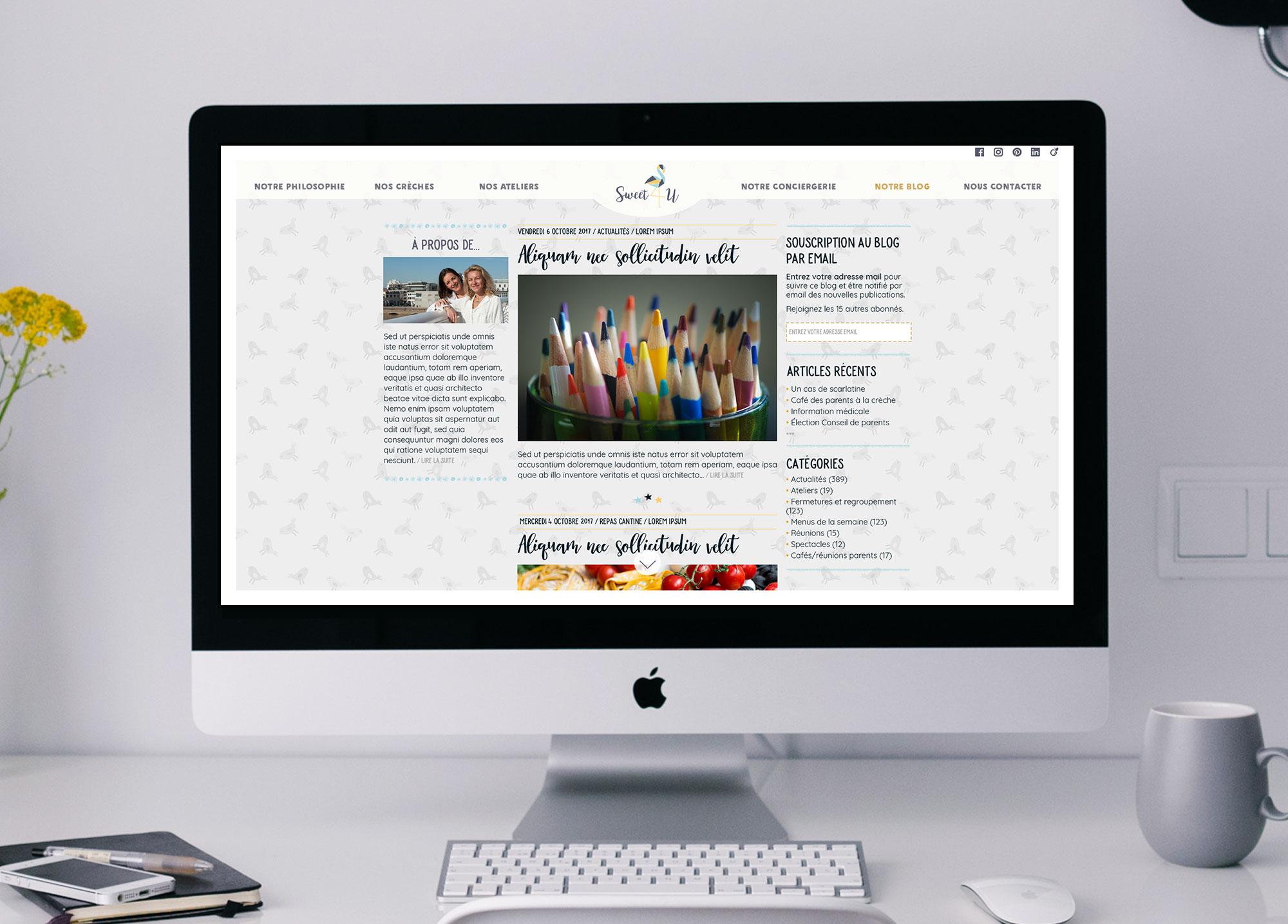 """Page """"Notre blog"""" du site Web de la crèche Sweet 4 U."""
