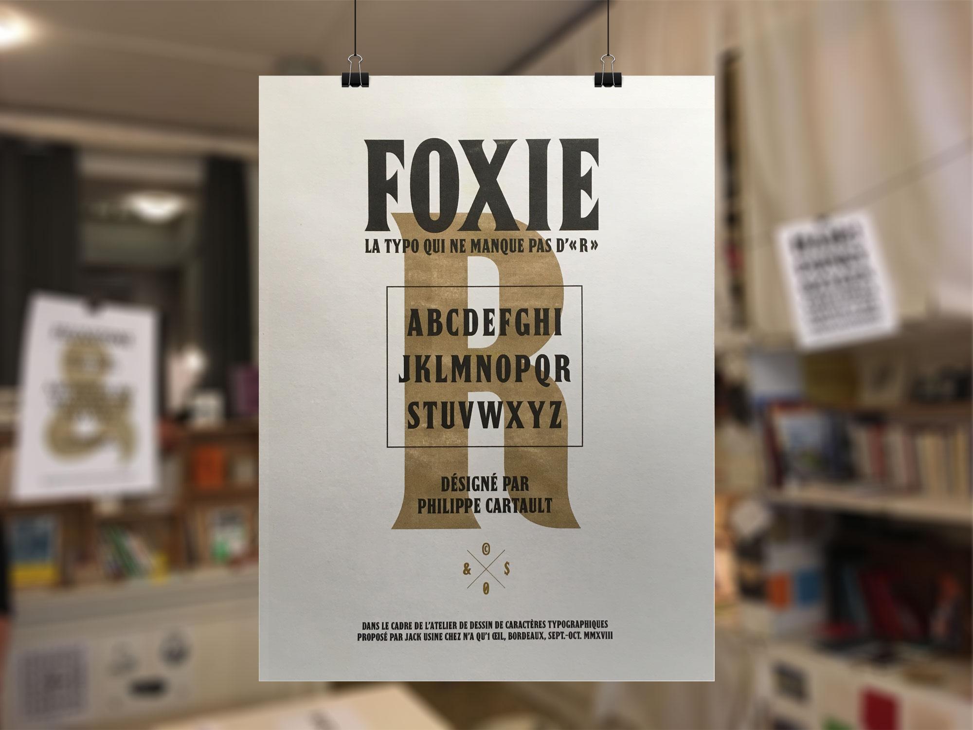 Recto de la typo Foxxie.